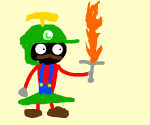 luigi as a marshian rock with fire sword