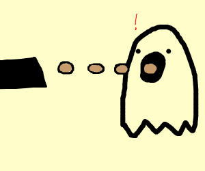 Something shooting eggs at a ghost mouth