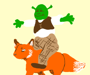 Shrek riding a fox