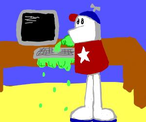 Homestar Runner spilling soda on keyboard