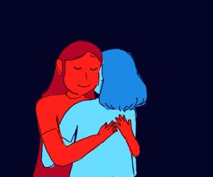 red girl and blue girl hug