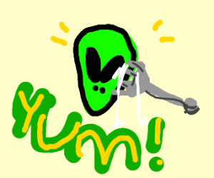 Eating alien head using a fork