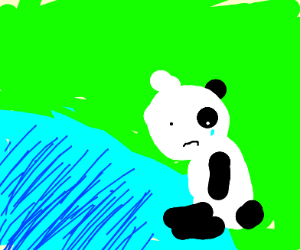 Sad baby panda in pond with stalks
