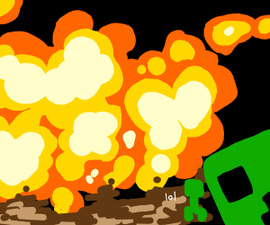 Explosion with a minecarft creeper face