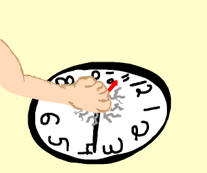 Hand crushes Clock?