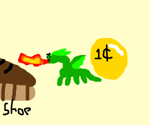 A tiny dragon guarding one gold coin