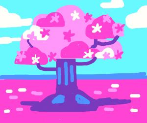 kurzgesagt looking cherry blossom tree