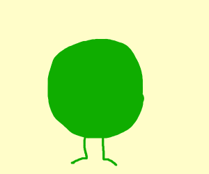 Long green circle with legs