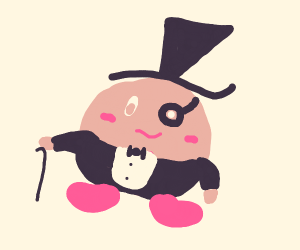 Posh Kirby with monocle and top hat