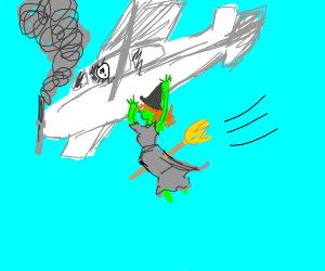 Witch pushes a plane