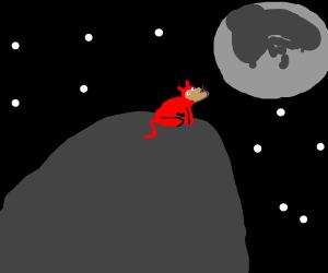 Demon dog howls at moon on rock