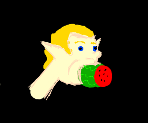 elf eating watermelon