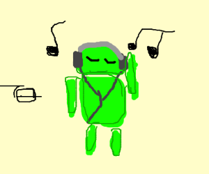 android logo listens to music