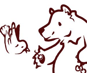 a bear and a bird share berries