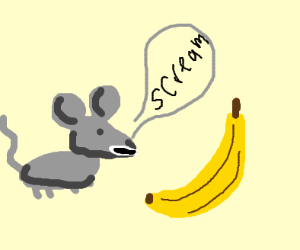 Mouse screaming at a banana