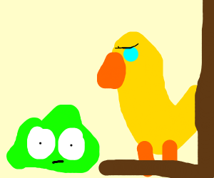 A bird unimpressed about green slime