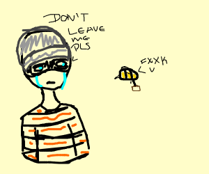 Robber doesnt want bee to go away