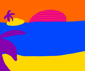 vaporwave beach