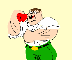 Buff Peter Griffin prepares to eat an apple.