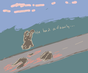 A poor roadkill rabbit