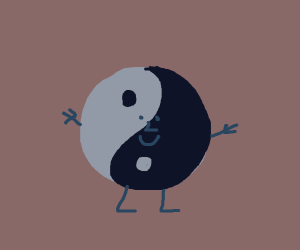 walking Ying Yang w/ eyes and mouth
