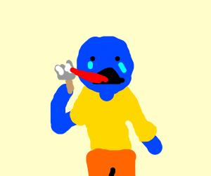 sad blue man eating painT