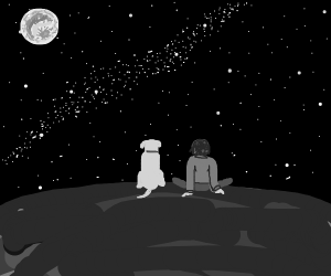 He sat with his dog; both friends, stargazing
