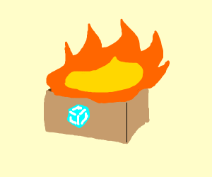 ice cube on fire in a box