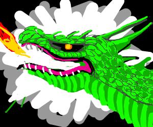 Glorious Dragon puffs single flame.