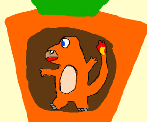 Charmander stuck in a giant carrot