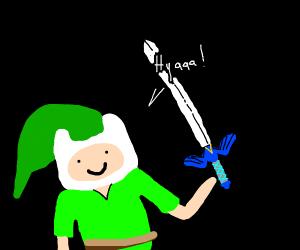 Finn (adventure time) as link(legend of zelda