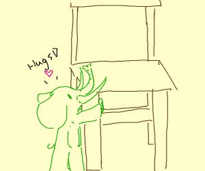 green elephant hugs a chair leg