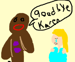 Gingerbread man dumps desperate blonde