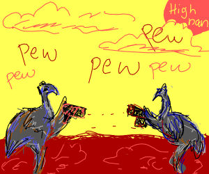 Ostriches in a Wild West Shootout