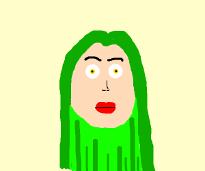 person with long green hair