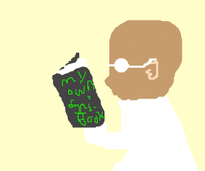 Bald scientist reading his own science book