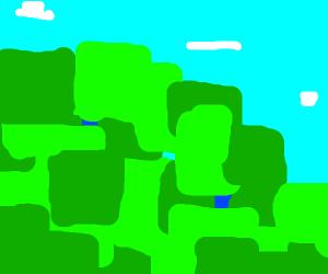 Pixelized landscape drawing