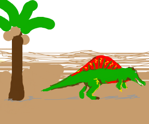 Spinosaurus walks away from coconut tree