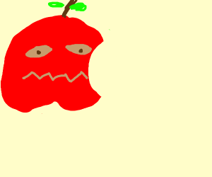 an anxious apple with a bite out of it