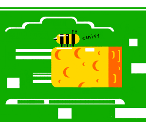 Bee smelling cheese