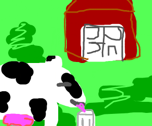 Cow having a nice glass of milk