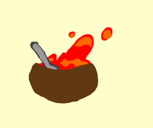 bowl with lava in it being eaten with a spoon