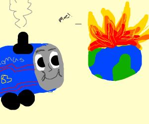 Thomas the Train watching the World Burn