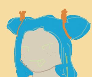 funny blue haird girl