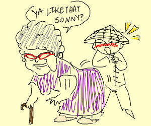 grandma giving a asian boy the booty