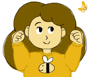 Cute lady with a shirt with a bee's draw