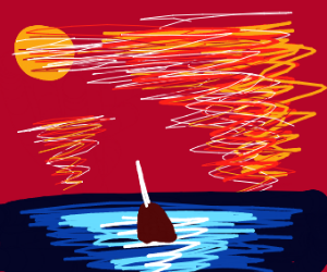 Narwhal swimming under a sunset