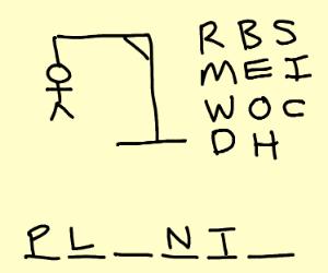 Hangman or roulette gun game thing