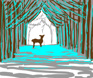 deer doe in snowy forest