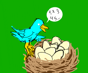 A blue bird counting its many eggs